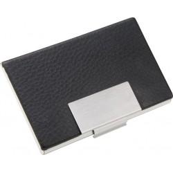 Porta Cartão Em Couro C/ Detalhe Metálico